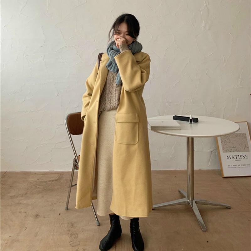 Kadınlar Sonbahar Kış Sarı Uzun Yün Coat Şık Katı Renk Uzun Kollu Yün Palto Yaka Ceket Turn-down