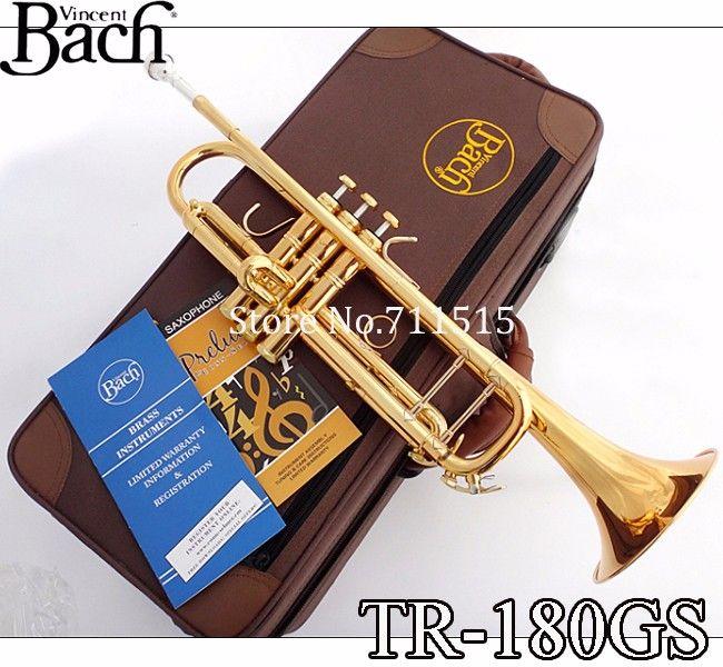 Marka Kalite Zarif Bach TR-180GS BB Trompet Pirinç Altın Lake Yüzey Trompet Yeni Müzik Aletleri Kılıfı Ile Trompeta 7c Ağızlık