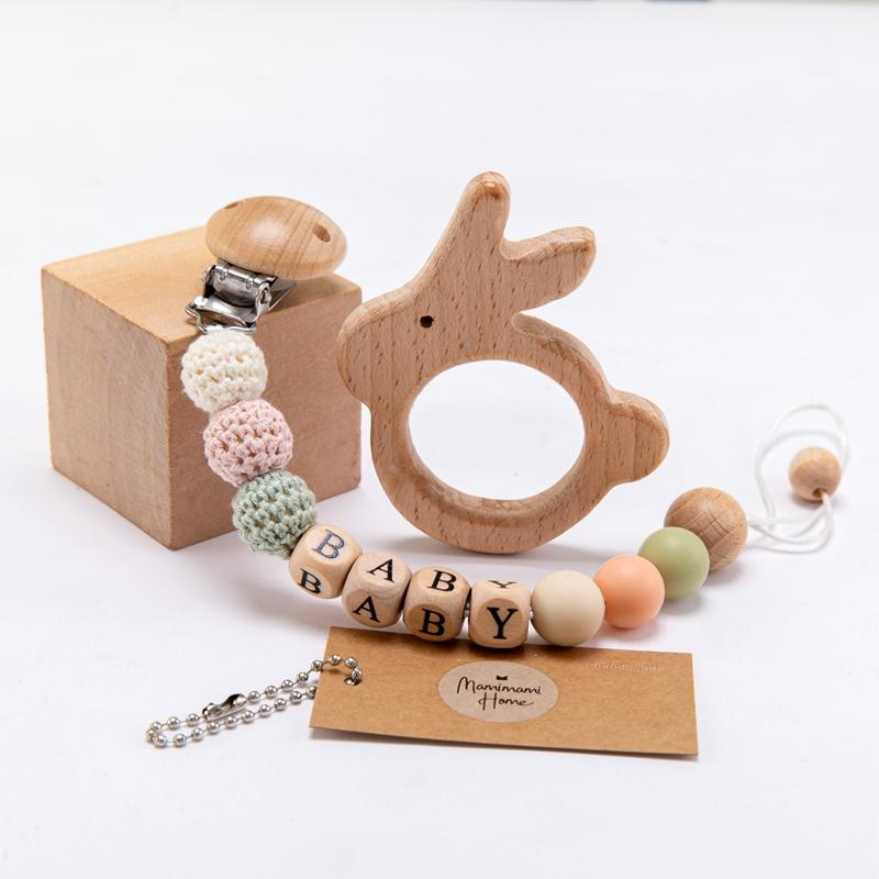 1set Baby Pacifier Chain Personalize Name Pacifier Clip Wooden Dummy Chain Holder Cute Soother Baby Teething Toy Chew