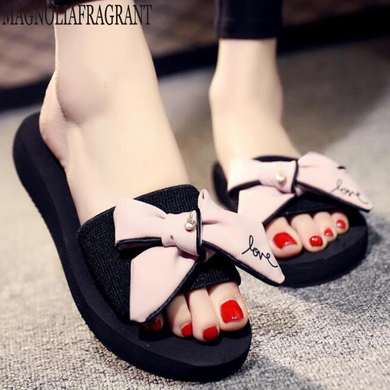 тапочки женские лук летние сандалии крытый открытый шлепанцы пляжная обувь женская жемчужина мода женская обувь на плоской подошве sandalias mujer c