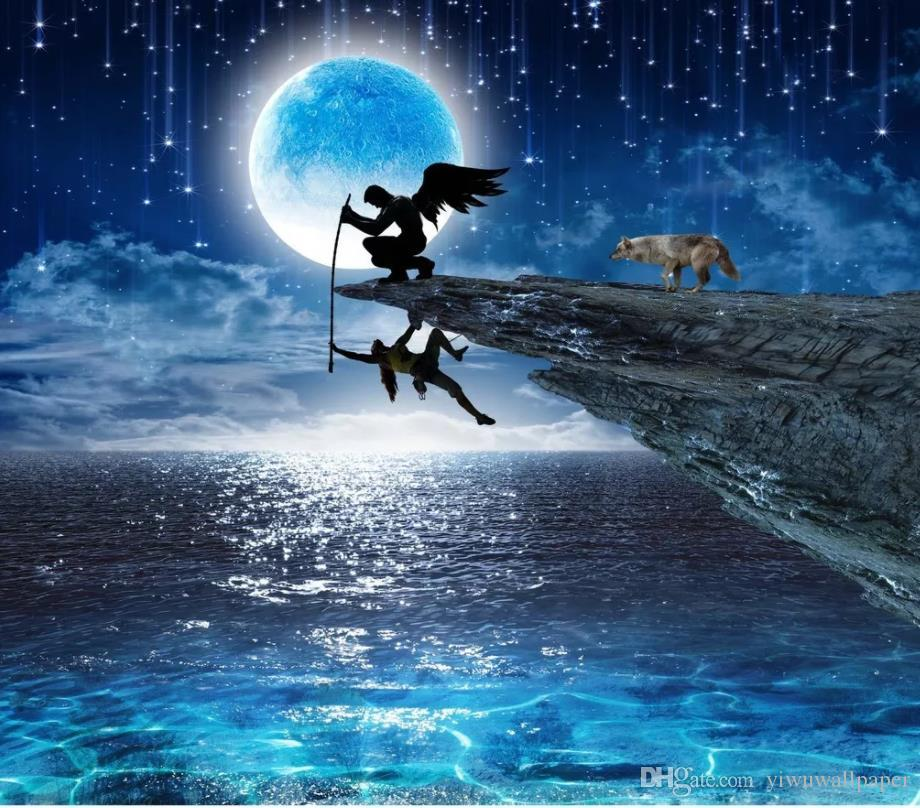 Rescue Angel Full Moon Night Creative Landscape Wall 3d murals wallpaper for living room