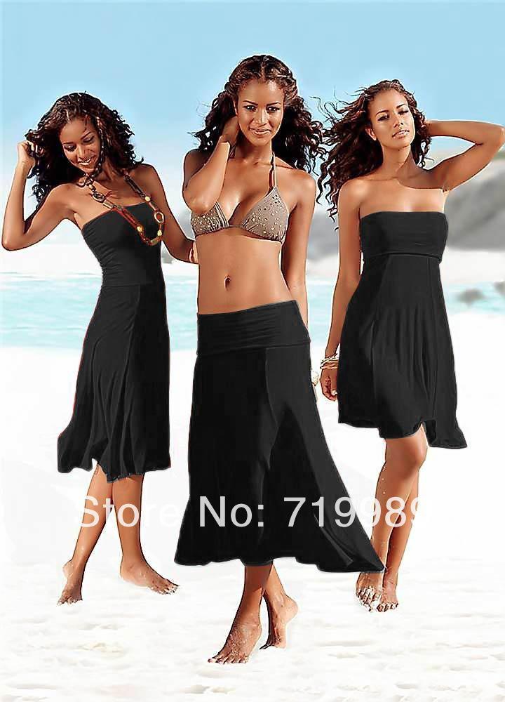 2020Wholesale-Seksi Kadınlar 3 1 Straplez Bikini Cover Up Saç bandı Elbiseli Mayo Plaj Etek 11 renk