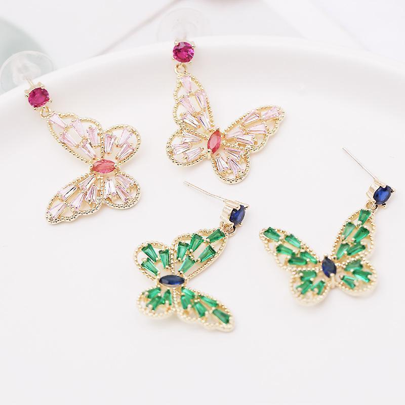 Moda Bırak Küpe İçin Kızlar Yeşil Kristal Hollow Kelebek Dangle Küpe S925 Kulak Studs Düğün Tasarımcı Takılar