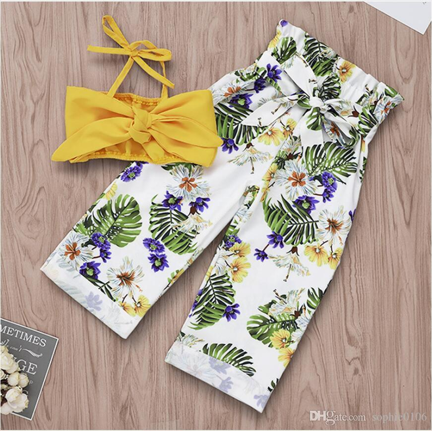Baby Floral Print Pantaloni a vita alta Set bambina Estate Bowknot Giallo Top e pantaloni lunghi Suit Abbigliamento bambini Due pezzi ZHT 196
