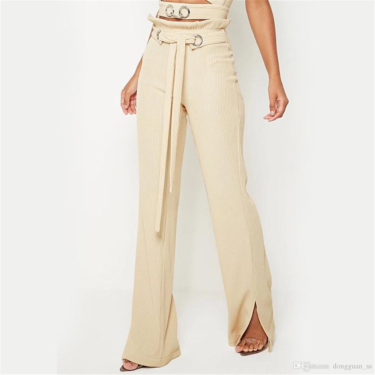 여성의 높은 허리 캐주얼 졸라 매는 끈 통바지 캐주얼 바닥 슬릿 벨 붕대 레이스 업 허리띠 코듀로이 플레어 바지
