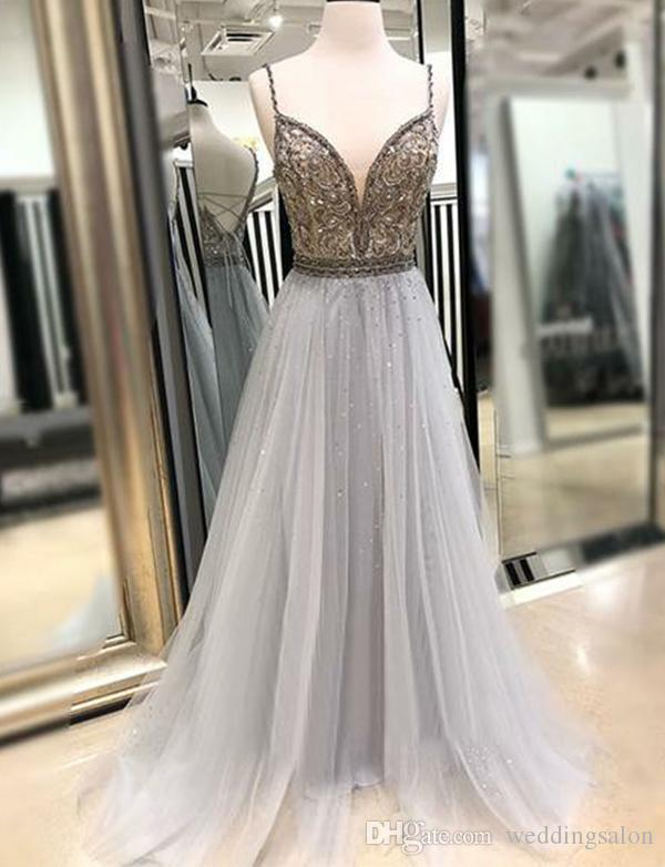Stylish Beaded Lace Backless Prom Dresses Plunging Neck A Line Sequined Formal Dress Floor Length Tulle Plus Size Evening Gowns
