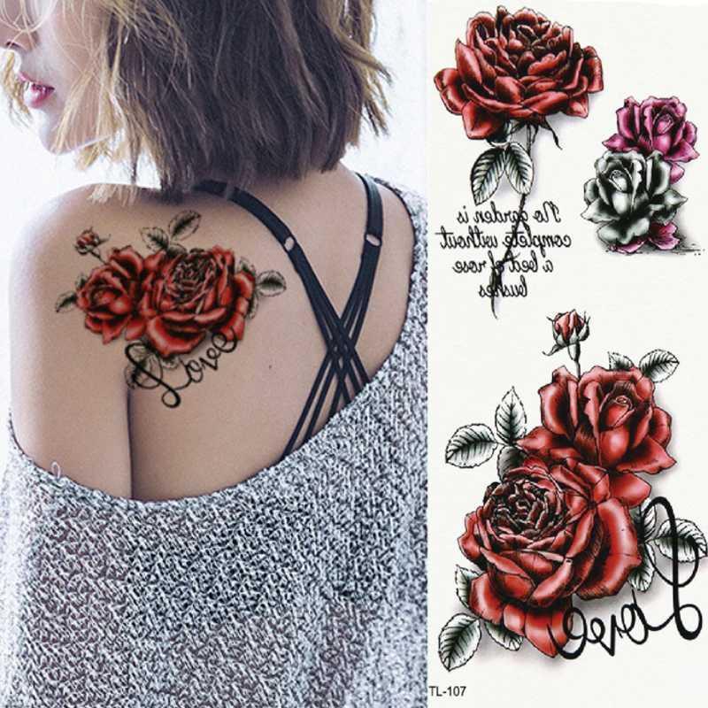 1 PC Marca arte nuevo cuerpo tatuaje temporal 3D subió mariposa Animales esternón brazo carrocería colorido atractivas de Flash Tatuajes de henna pegatinas