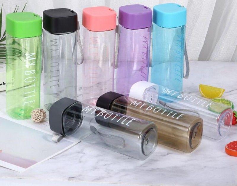 """شعار مخصص زجاجة بلاستيكية مربعة المياه """"بلدي زجاجة"""" الرياضة زجاجة PC البلاستيك المحمولة هدايا الحبل كوب ماء مانعة للتسرب مخصصة 8 ألوان"""
