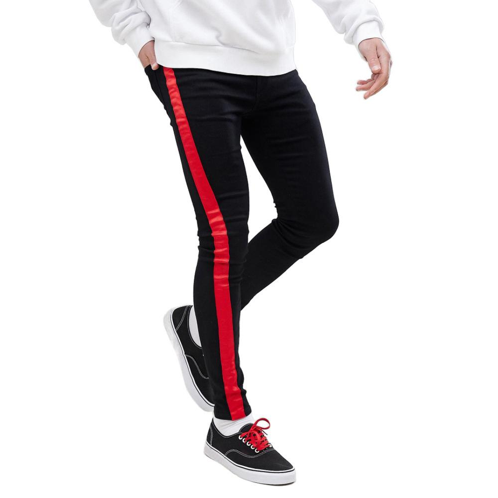 Side Stripe Red White Men Jeans Skinny Stretch Black Slim Fit Pants Tapered Legging Pencil Biker Comfy