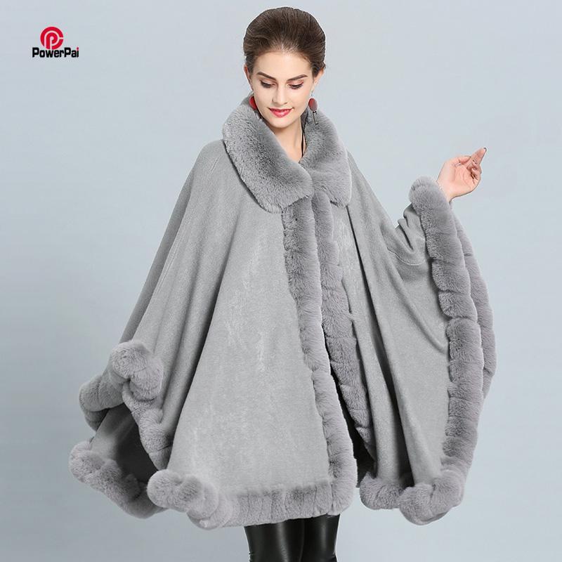 패션 세공 모피 코트 케이프 큰 롱 캐시미어 목도리 전체 트림 가짜 모피 망토 옷깃 외투 여성 겨울