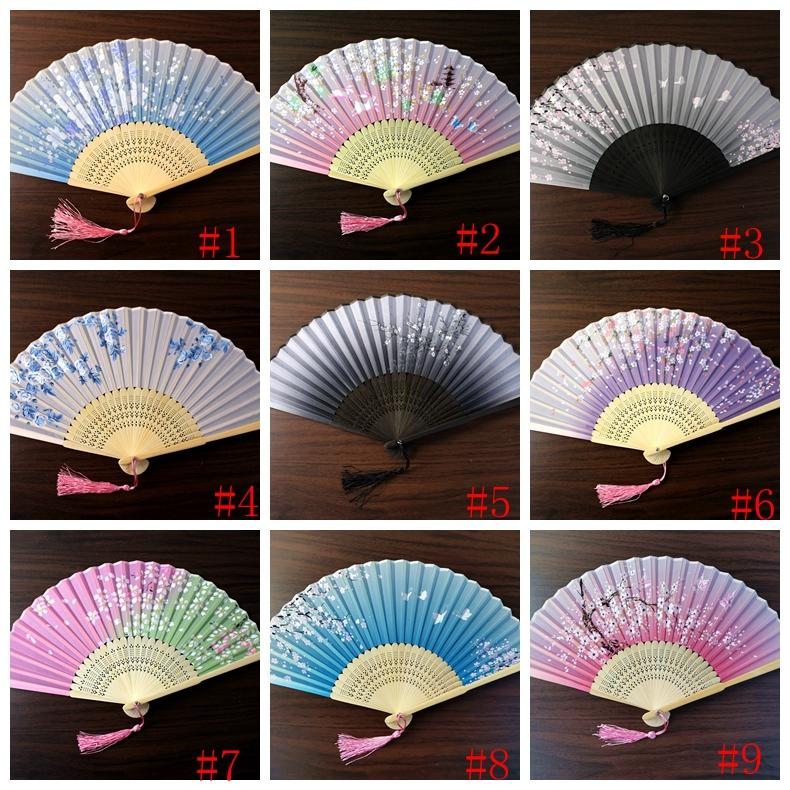 Japanese style Fan Silk Female Fans Peony Chinese Painting Picture Retro Fans Silk Folding Hold Fan 17 colors Party Favor GGA2582