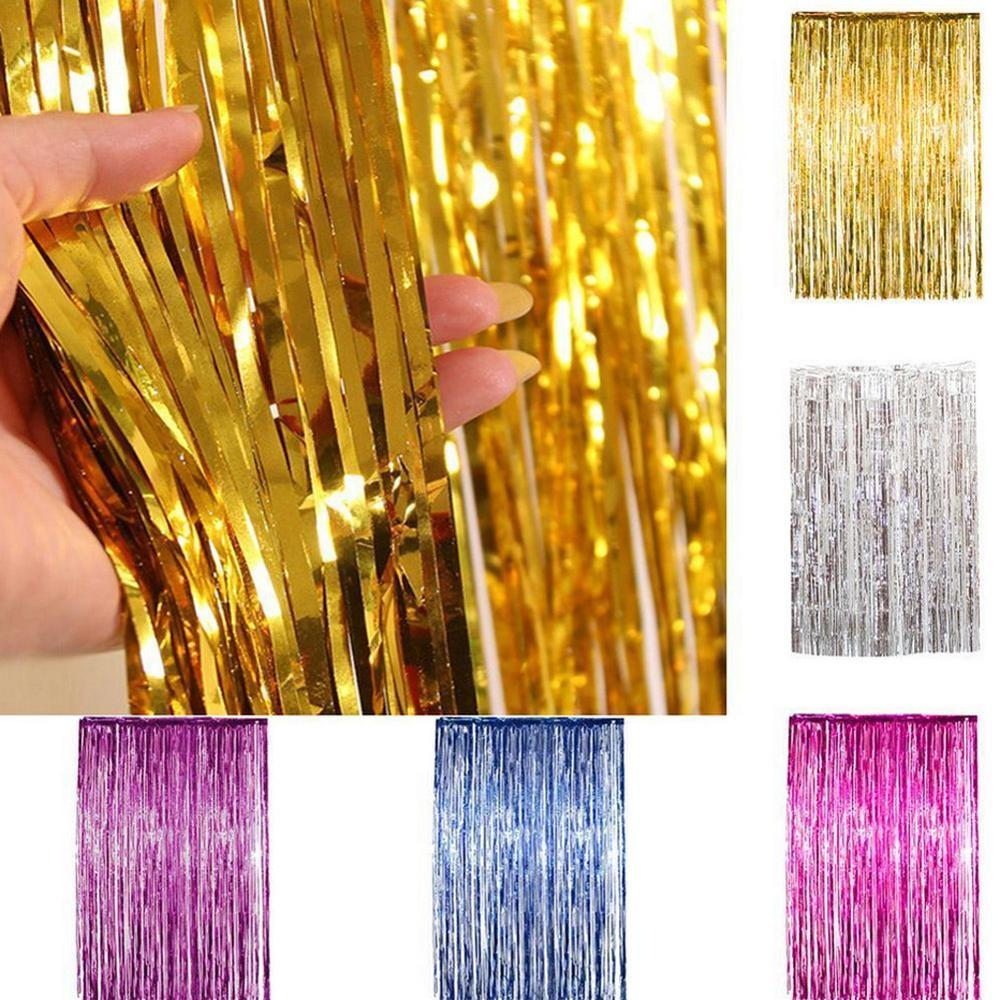2M Gold Silver Metallic Foil Tinsel Fringe Curtain Birthday Party Decoration Wedding Photography Backdrop Curtain Photo Props
