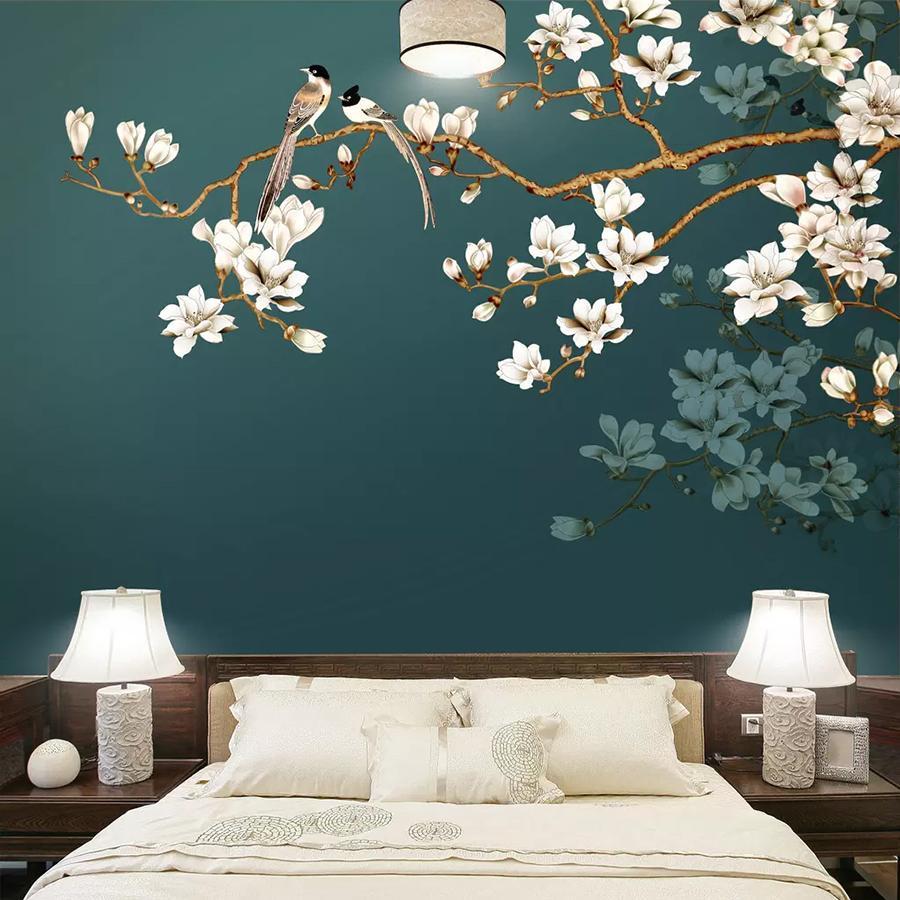 배경 화면을 회화 수송선 사용자 정의 벽 종이 벽화 손으로 그린 중국 스타일의 꽃 조류 거실 침실 인테리어 장식 벽