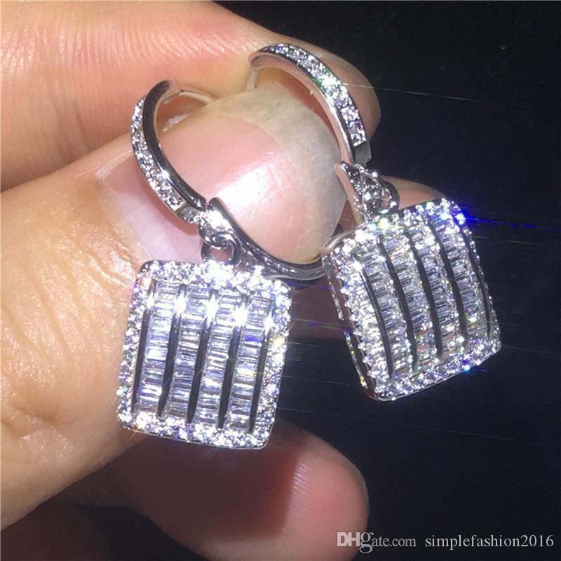 2018 Fashion Drop Earring 925 sterling silver Princess cut Diamond Cz Party wedding Dangle Earrings for women Jewelry Gift