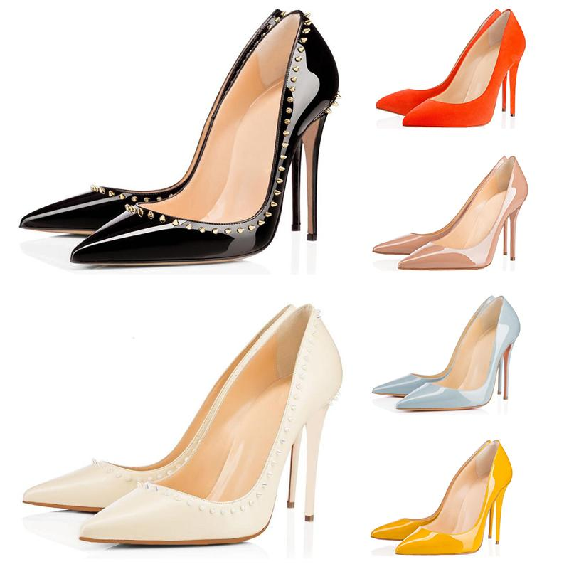 2020 Designer fashion luxury high heels for women party wedding triple black nude red spikes Pointed Toes Pumps bottoms Dress shoes