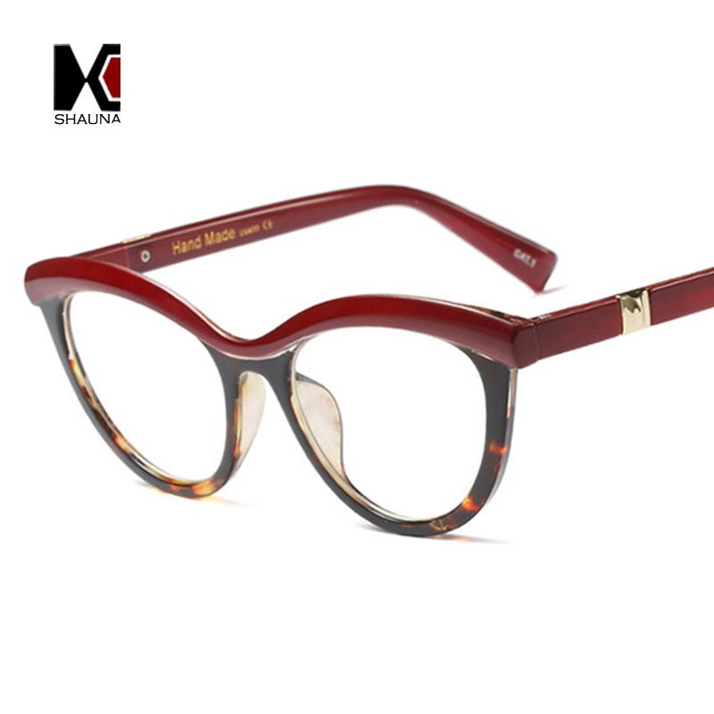 Toptan-SHAUNA Moda Karışık Renkler Kadınlar Kedi Göz Gözlük FramAnti-Mavi Rays Optik Gözlük çerçeveleri UV400 Çerçeve