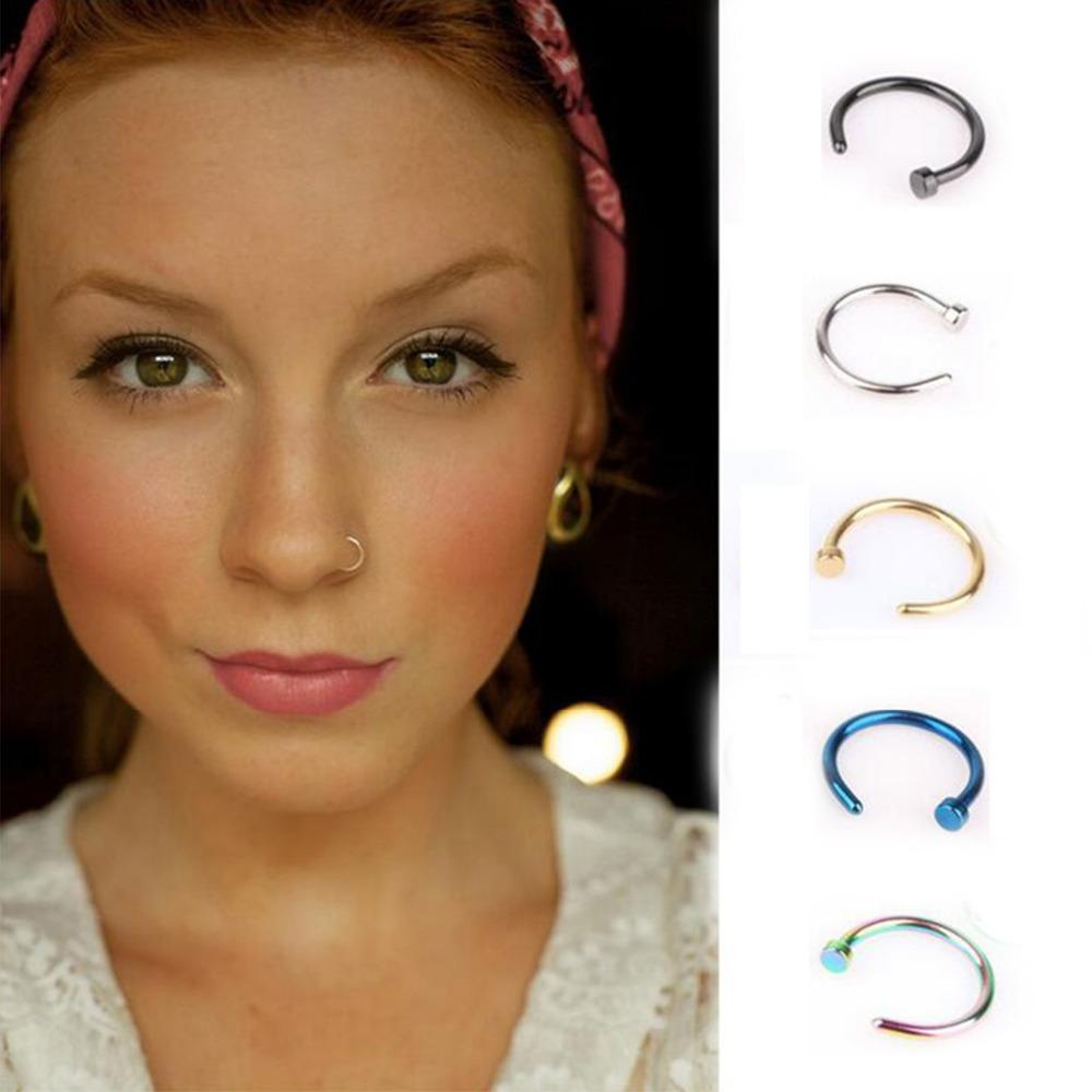 H:HYDE 1pc Fashion Fake Septum Medical Titanium Nose Ring 5 Colors Body Clip Piercing Jewelry For Women Punk Style Jewelry Gift