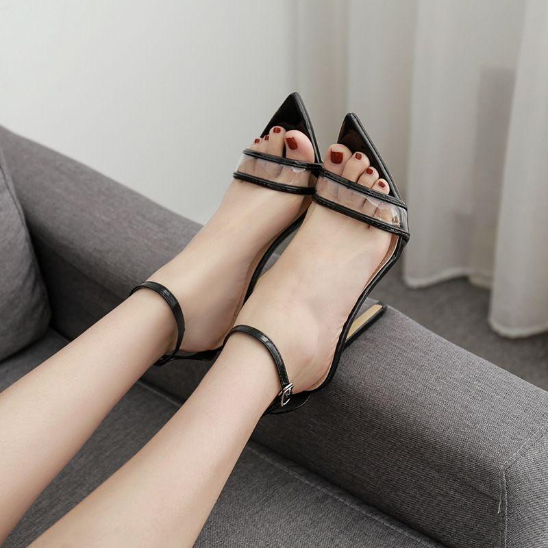 saltos 11,5 centímetros de estilete PVC transparente pontudas toe senhora sandálias das mulheres sapatos de verão cinta branca preta do partido sapatos tornozelo