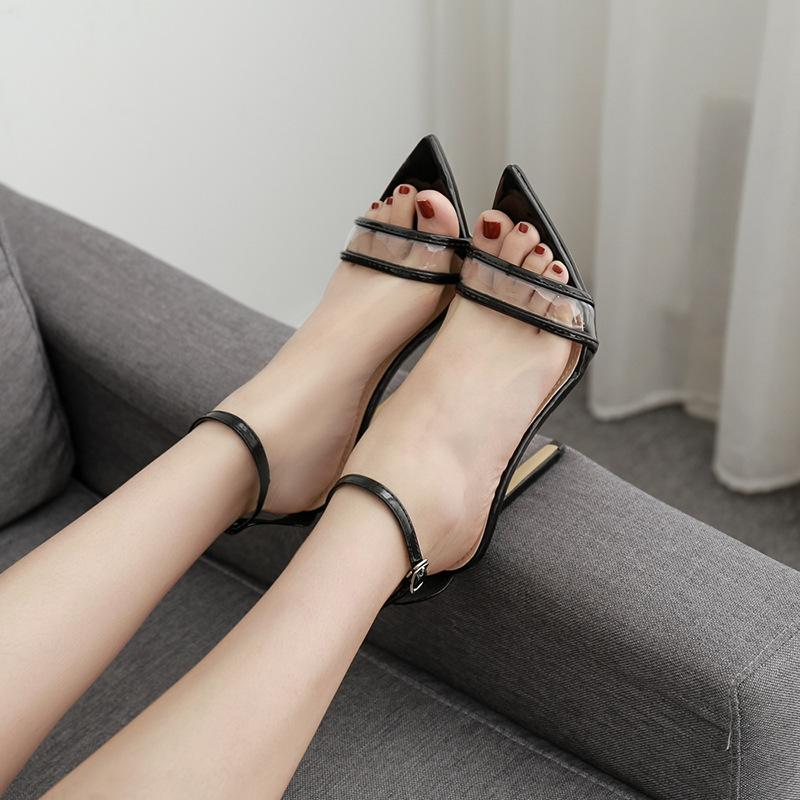 11.5cm Stiletto heels PVC transparent pointed toe lady sandals women summer shoes white black party dress shoes ankle strap