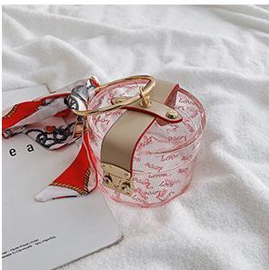 Transparent Designer Handbags 2020 New Fashion Scarf Wild Handbag Retro Small Round Bag