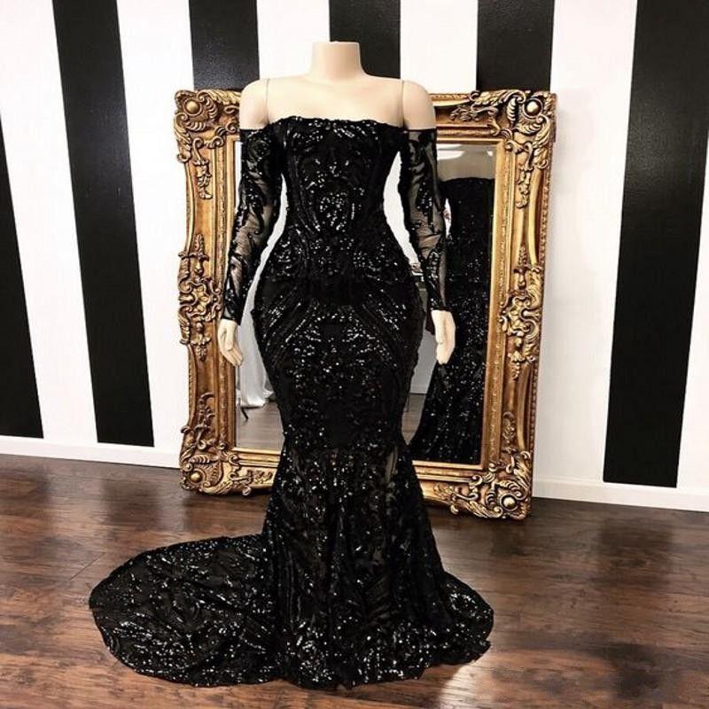 Черный с плеча Mermaid Вечерние платья 2020 Новый длинным рукавом стреловидности Штамм Sequined Формальное Пром платья