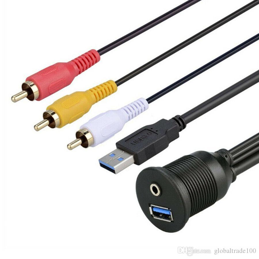 USB 3.0 AM / AF + DC3.5F / 3RCA Cavo di prolunga Aux per auto Audio Video Montaggio a incasso per cruscotto 1 metro
