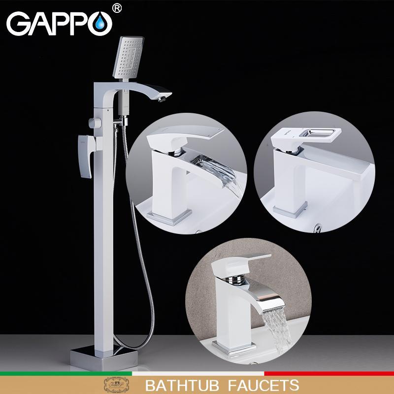 Гаппо смесители для ванны белый хром сделать anheiro ванна кран ванна душ смеситель для душа глава установить ванной кран смеситель для раковины