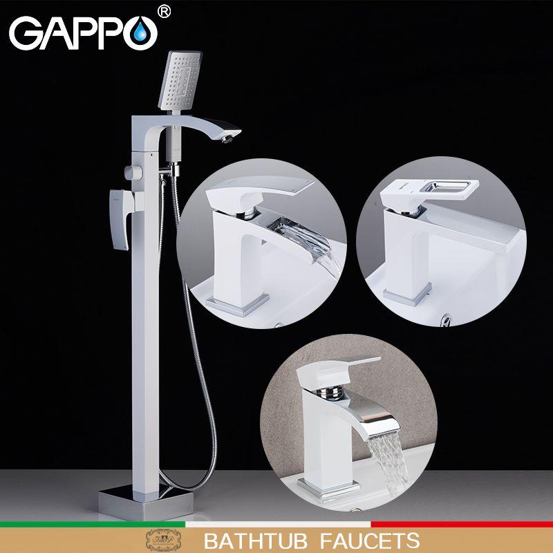 Gappo vasca Rubinetti cromo bianco fare anheiro vasca da bagno rubinetto miscelatore doccia set da bagno lavabo rubinetto soffione doccia