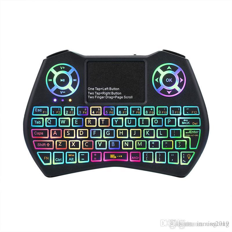 Mini Klavye I9 Artı Renkli Backlight Hava Fare ile Dokunmatik Uzaktan Kumanda Çalışma İçin Android TV BOX / TV / Mini PC / Projektör / X96 DHL Ücretsiz