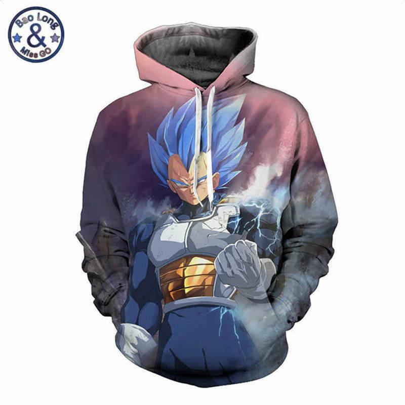Dragon Ball Z Hooded Sweatshirts الرسوم المتحركة Cartoon Vegeta مطبوعة 3D هوديس طويلة الأكمام سترة عارضة تراكسويت أبلى