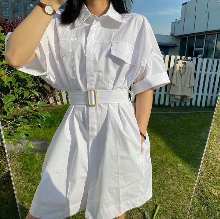 Женский белый фиолетовый подкладка платье 2020 лета нового короткого рукав отворот бутики темперамент платье
