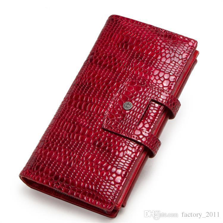 악어 패턴 디자인 진짜 가죽 여자 지갑 긴 지갑 클러치 가방 지갑 선물 발렌타인 데이 크리스마스 추수 감사절 C2161