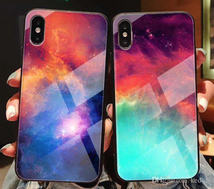 Marca New manchado caso de concha de vidro para casos de telefone iphone x menina para iPhone 8 7 6s XR MAX mais apto enseada cheia