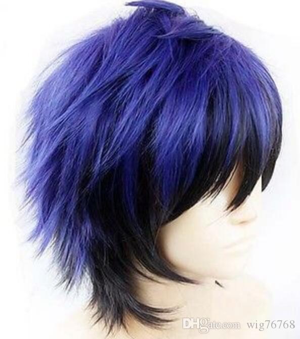 WIG Japanese Anime Nisekoi Cosplay Straight short blue mix black Wig