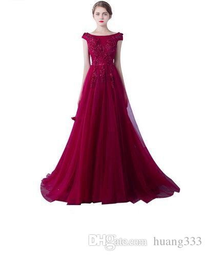 2019 New Robe De Soiree Evening Dresses The Married Banquet Elegant Wine Red Lave Flower Long Party Prom Dresses Custom Size 488