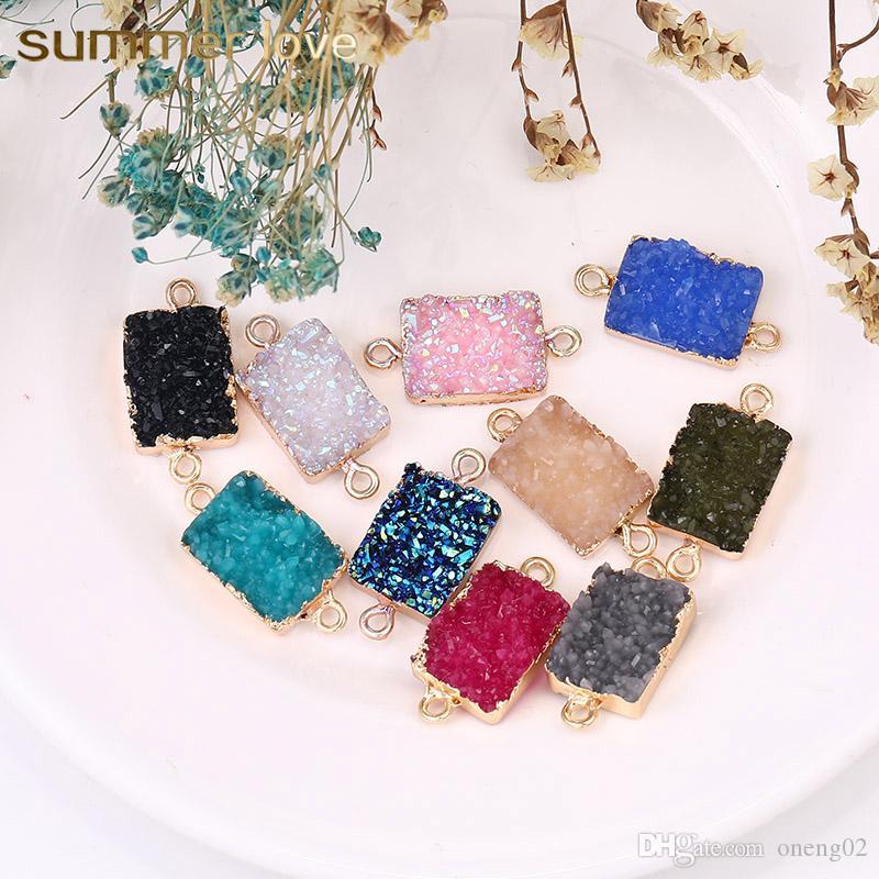 Mode Résine Pierre Druzy Charme pierres précieuses résine naturelle Carré 10 Couleurs Pendentif pour les bijoux bricolage Bracelet Collier Faire boucle d'oreille Accessoires