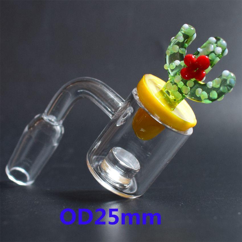 OD 25mm Cuarzo Gavel Banger Core Reactores + Cactus de vidrio coloreado Carb Cap 10mm 14mm 18mm Hombre Mujer Clavo de cuarzo para Dab Rigs Bongs