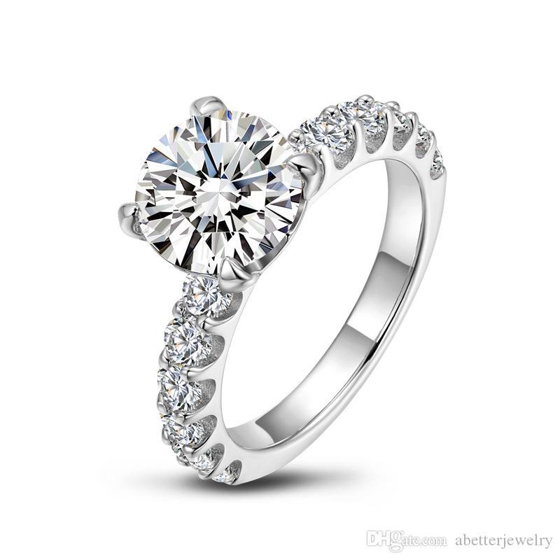 Женское кольцо 925 серебро Iinlaid 3CT круглые формы моделирования алмазные свадьбы или вовлеченные кольца влюбленные роскоши евро-американский