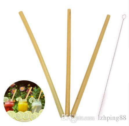 3PCS 23cm Length Bamboo Drinking Straws With 1PCS Cleaning Brush For Party Birthday Wedding Home Drink Tableware Dinnerware