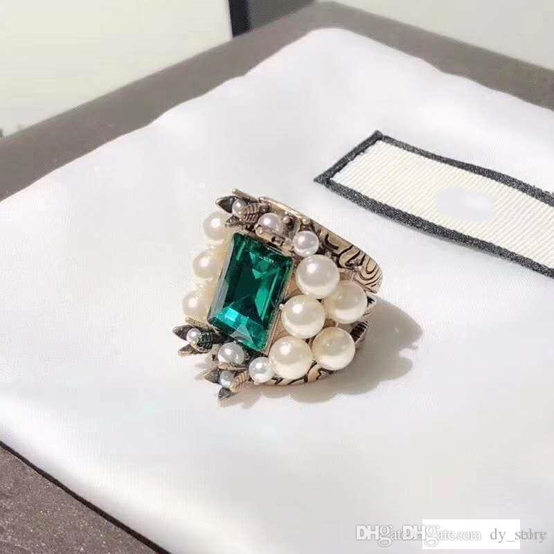 Europe and America Fashion Women Ring Gold Plated Pearl Big Green CZ Ring for Girls Women for Party Wedding Nice Gift
