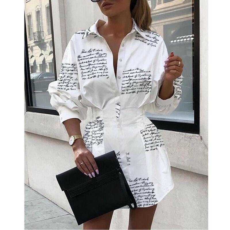 Mulheres Pescoço V manga comprida abacaxi blusa estampada com botões Top Camisa Casual solta Mini Vestido Blusa Vestidos Top