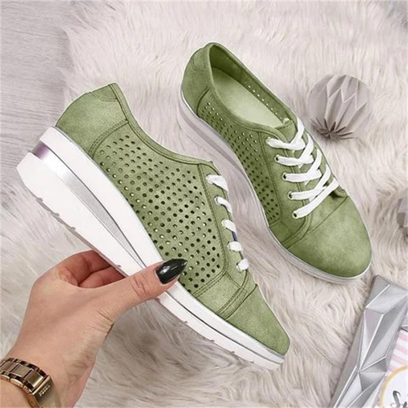 Scarpe Pompa Air Mesh casuali della tela di canapa delle scarpe da tennis respirabili piattaforma Sneakers Meddle tallone della punta aguzza donne cuneo di moda Scarpe Estate Autunno