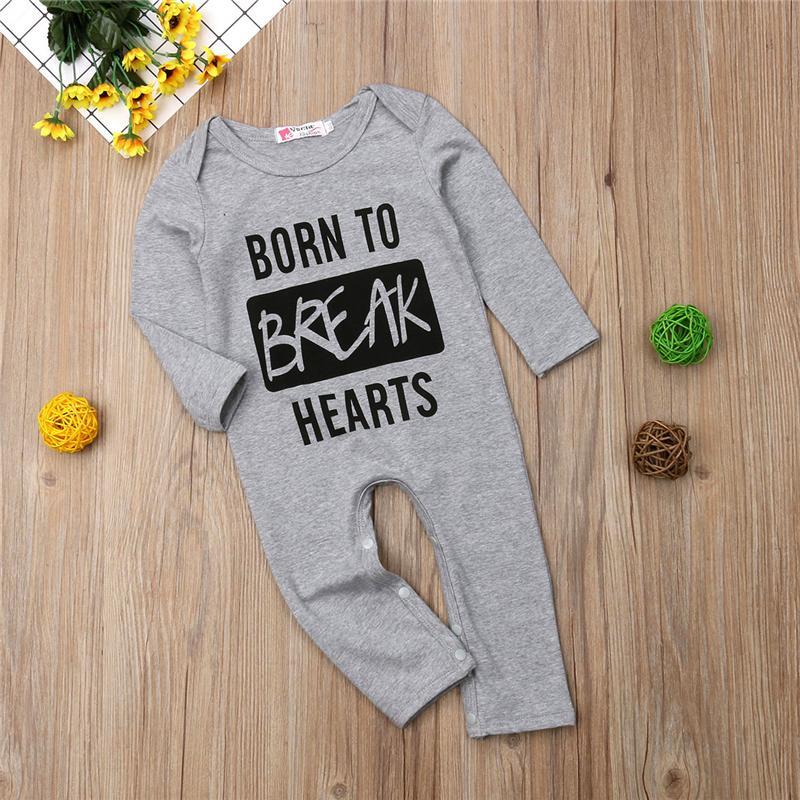 BORN TO BREAK HEARTS Newborn Infant Baby Boy Girl Romper Long Jumpsuit Playsuit Cotton Clothes 0-2Y