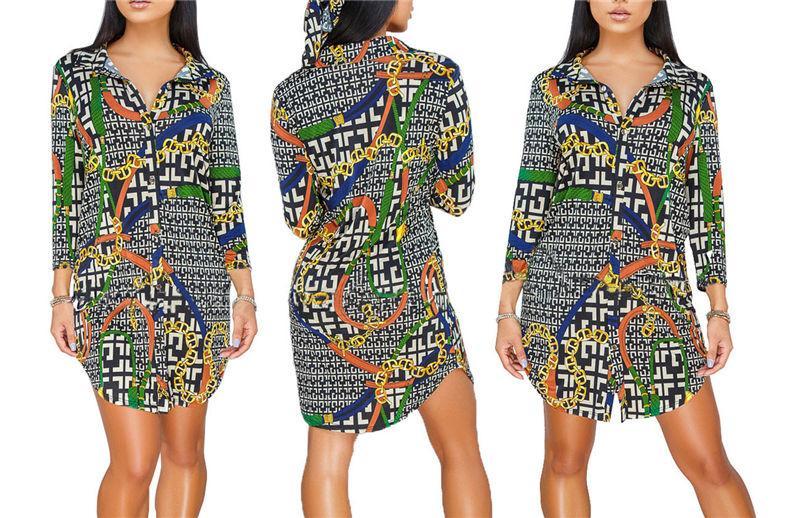 Mode für Frauen Hemd-Kleid gedruckte Bunte Revers Ausschnitt Frauen lösen Kleid Langarm-Dame-beiläufiges Kleid