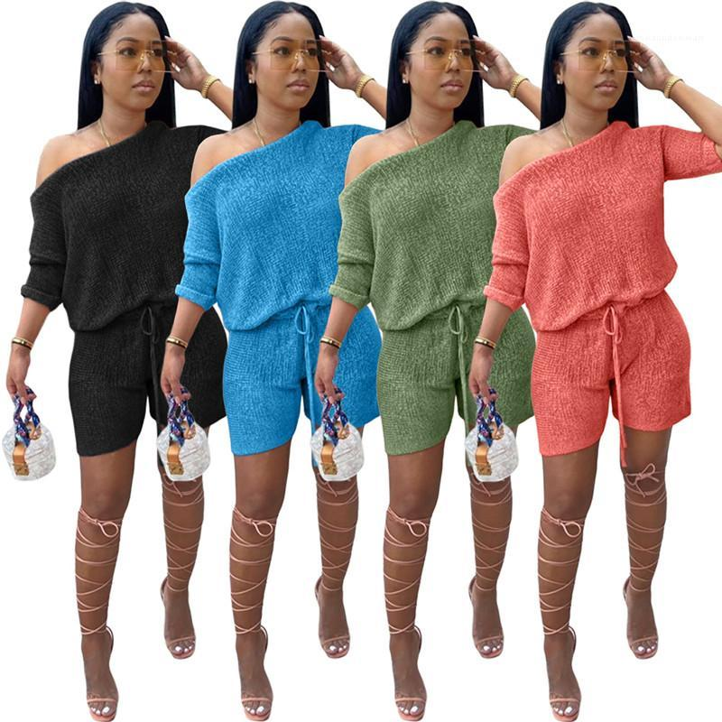 Color Shorts Tracksuits Fashion Pullover Casual Apparel Womens Summer 2Pcs Suits O Neck Half Sleeve Tops Solid
