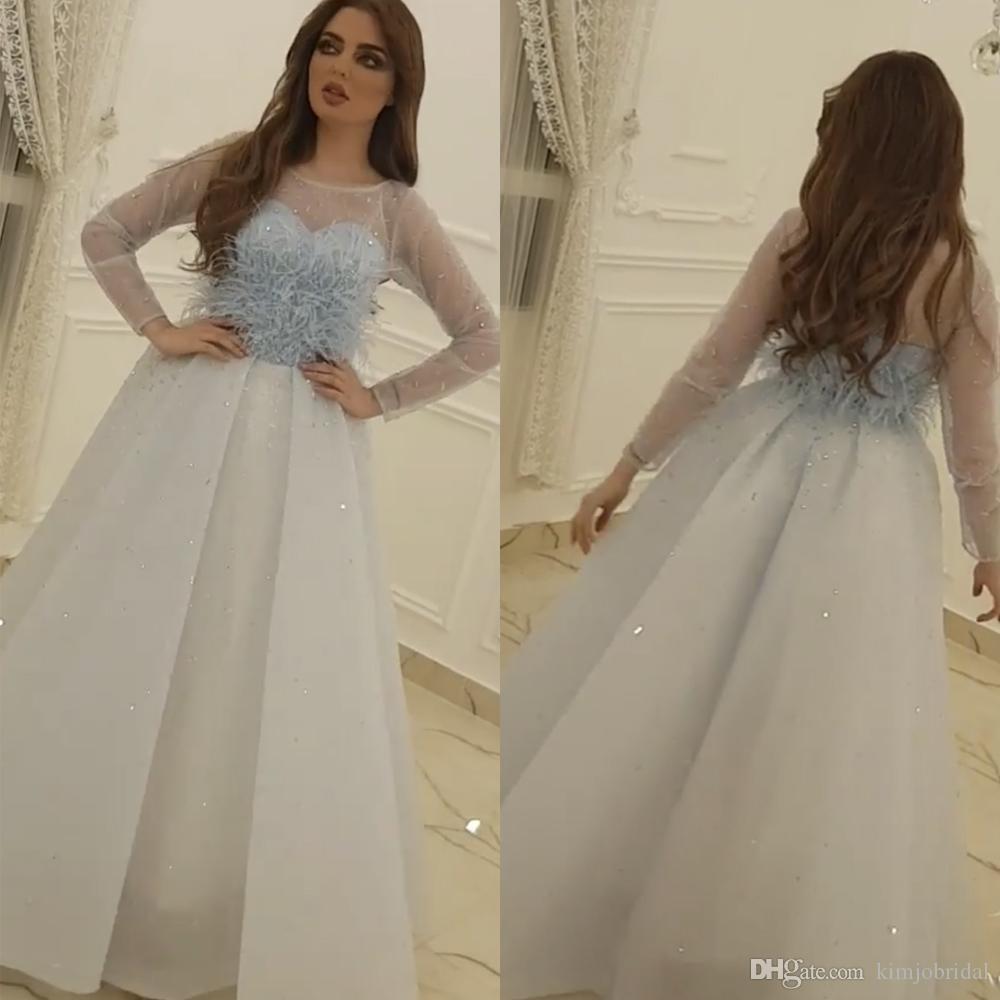Azul claro Vestidos de baile Escote redondo Rebordear Plumas Manga larga Rebordear Lentejuelas Longitud del piso Vestidos de noche Vestidos