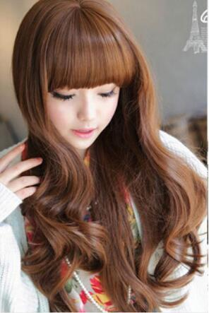 Free Shipping >Charming Lady Womens' Body Wavy Long Hair Wigs Cosplay Costume Flaxen Wig