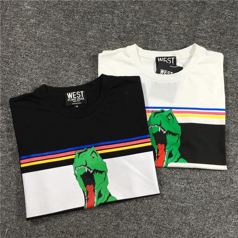 2020 marka lüks Mens Tasarımcısı tişört Erkek tişört Gökkuşağı Çizgili Yeşil Dinozor Baskı toptan