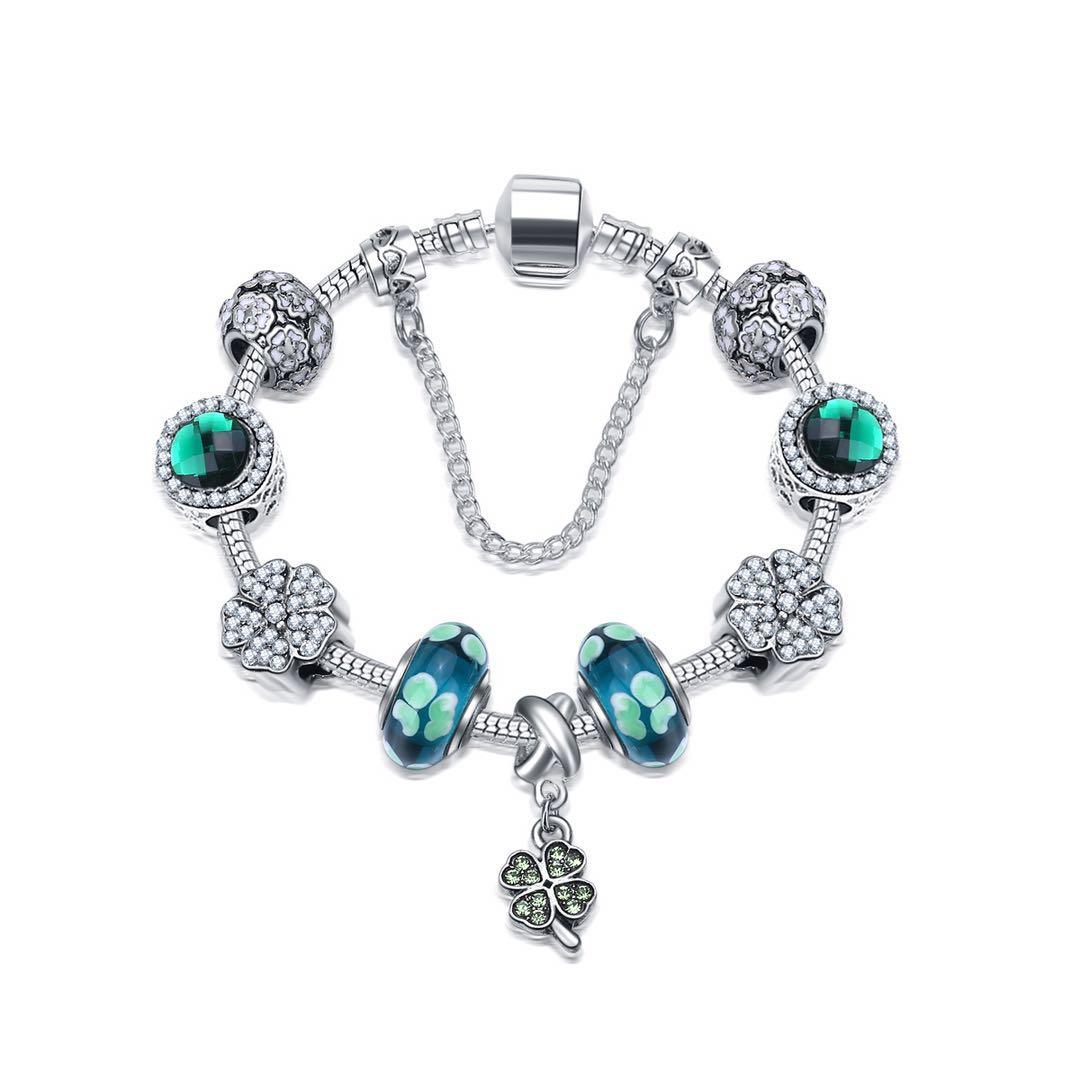 18-21cm Nuovo Quattro-foglio bracciali trifoglio fascino quattro fortunati perline di cristallo verde ciondolo foglia d'argento 925 monili del braccialetto fai da te