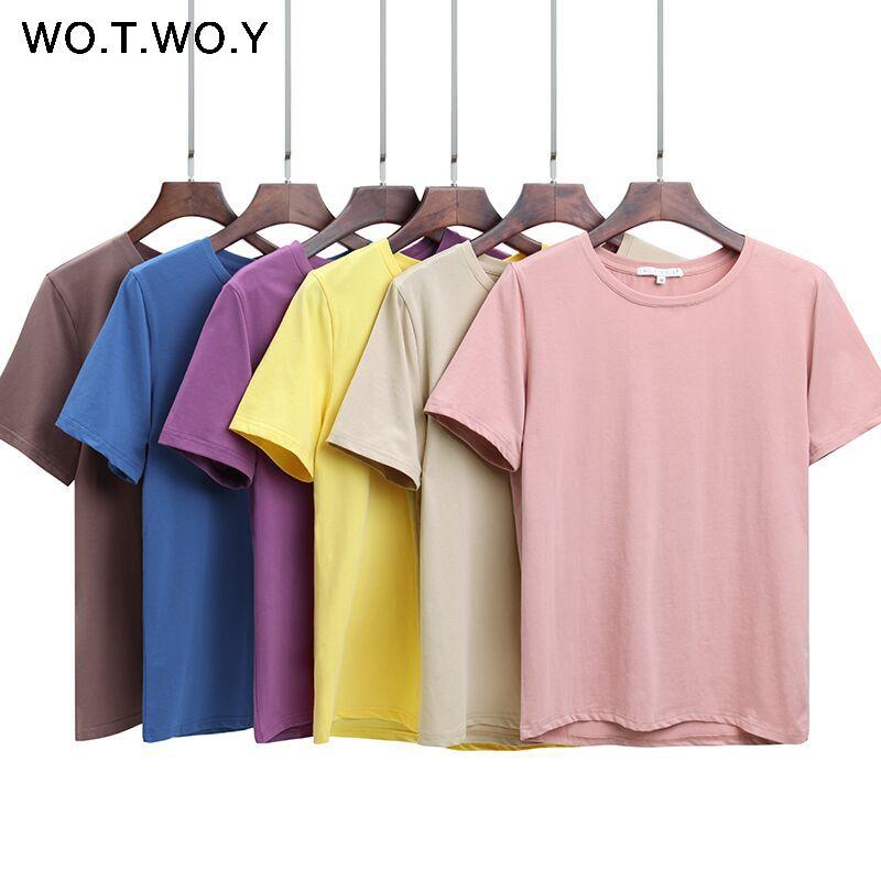 WOTWOY 2020 Летняя хлопковая футболка Женщины Свободный стиль Твердая Tee Shirt Женщины с коротким рукавом Top тройники O-образным вырезом футболки женщин 12 цветов